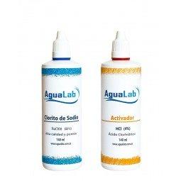 Kit 1+1 Clorito Sódico al 25% (140 ml) + Activador - Ácido Clorhídrico 4% (140 ml) Agualab - 1