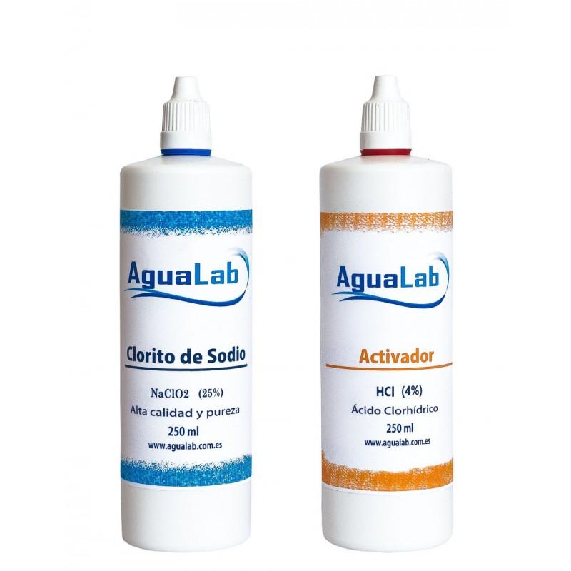 Kit Clorito Sódico al 25% (250 ml) + Activador - Ácido Clorhídrico 4% (250 ml) Agualab - 1
