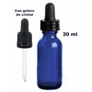 Tarro vidrio azul con gotero de cristal negro